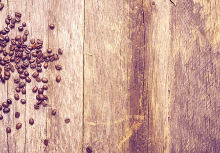 ultraviolet: Ultraviolet Coffee Backdrop Photo. Coffee Beans on Aged Wood Planks Closeup. Ultraviolet Color Grading.