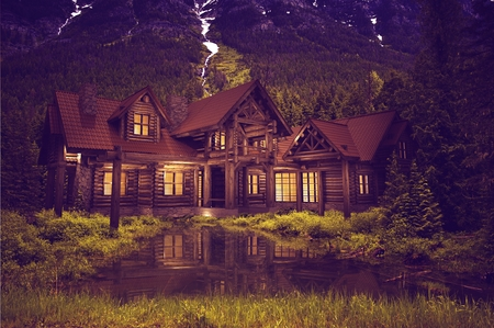 house construction: Beautiful Large Luxury Log Home on the Small Mountain Lake.  3D Log House Illustration. Stock Photo