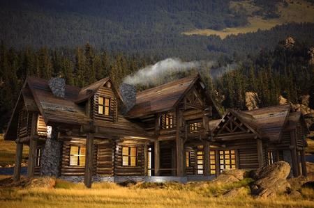 牧草地の 3 D イラストのログの家。夏の夜します。ログハウス建築。 写真素材