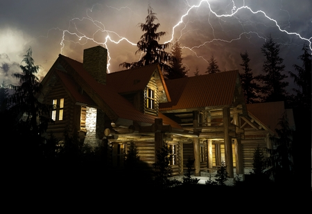 Lightning Home Protection Theme. Log Home in the Middle of the Forest During Heavy Lightning Storm. 3D Render Illustration. Фото со стока