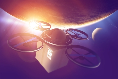 Drone Era. Quadcopter Drone with Package in the Space. Destination Earth. Remote Aircrafts Technology. photo
