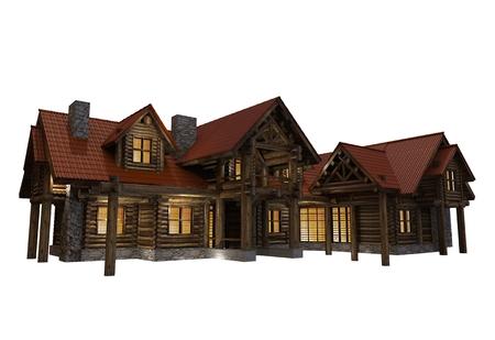 market place: 3D Log Home Illustration Isolated on White . Large Luxury Log House Evening Illumination. Stock Photo