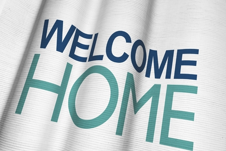 Welcome Home Waving Canvas Material Banner Closeup. 3D Illustration.