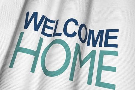 Welcome Home Waving Canvas-Material Banner Nahaufnahme. 3D-Illustration. Standard-Bild - 26622928