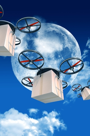 computerized: Overnight Shipping by Drones. 3D Drones with Packages Illustration. Large Moon and Few Clouds on the Night Sky.