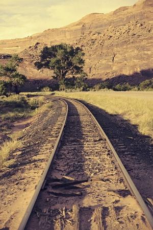 canyonland: Railroad Journey. Railroad Tracks in Utah Canyons. United States.