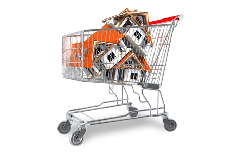 homes: Real Estate Market Concept with Homes in Shopping Cart Isolated on White Background. Houses in Shopping Cart 3D illustration.