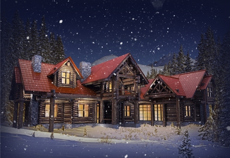 Luxury Mountain Log Home with Red Roof in Winter. Late Winter Evening with Falling Snow Scenery. Reclaimed Wood Logs Made. Log House 3D Render Illustration.