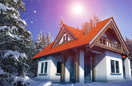 suburbia: Beautiful Cozy Mountain Home in Winter in the Middle of Snowy Forest. Falling Snow. 3D Render Illustration. Modern Housing Illustration. Real Estate Theme.