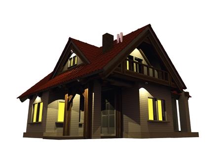 Home Evening Illumination. Single Family Home Illustration Isolated on White .