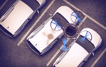 computerized: Spying Drone Over Parked Cars 3D Illustration. Remotely Operated Quadcopter Vehicle.