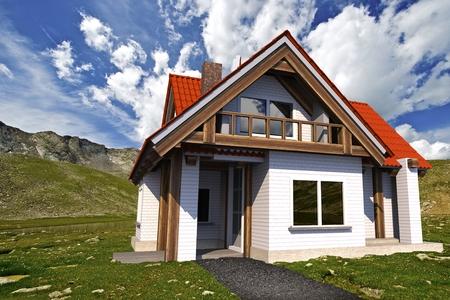 Two Levels Single Family House on Mountain Meadow 3D Illustration Reklamní fotografie