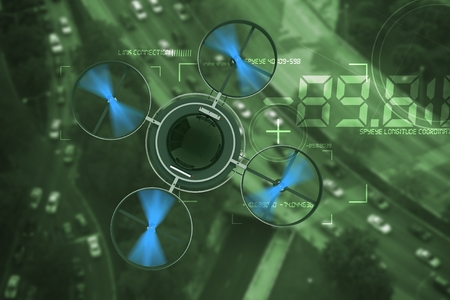 Noctovision Spying Dron. Remote Surveillance Aircraft Above City Traffic Abstract 3D Illustration.