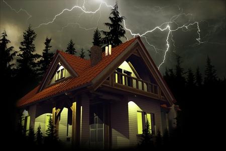 家の上の嵐。家保険イラストレーション。雷照明、ホーム上で危険な荒天。3 D のレンダリングの図。 写真素材