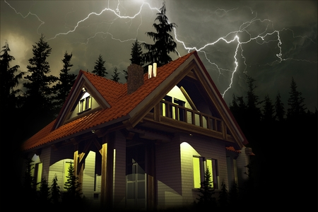 집 위에 폭풍. 하우스 보험 그림입니다. 집 위에서 천둥 번개가 칠 때 위험한 폭우가 낀 날씨. 3D 렌더링 그림.
