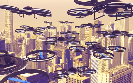 military invasion: Drones Invasion. A Lot of Drones Above American City. 3D Render Illustration. Technology Abstract.
