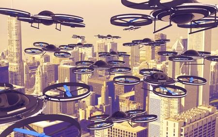 drones: Drones Invasion. Un sacco di Drones Sopra American City. 3D rendering illustrazione. Technology Abstract. Archivio Fotografico