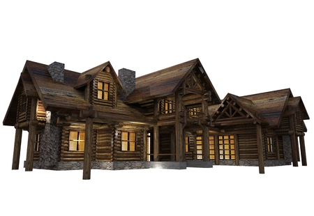 reclaimed: Luxury Reclaimed Wood Log House Isolated on White Background. Single Family 3D Log Home Illustration.