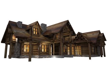 Luxury Reclaimed Wood Log House Isolated on White Background. Single Family 3D Log Home Illustration.