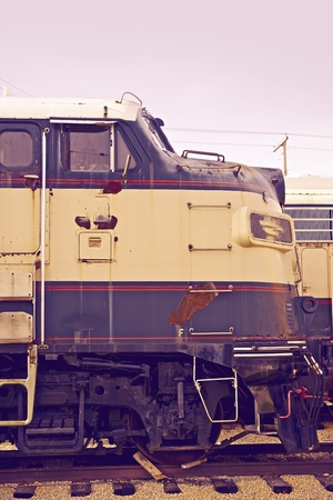 ultraviolet: Aged American Locomotive Closeup. Ultraviolet Color Grading Photography.