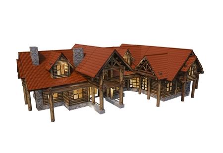 Log House Isolated 3D Illustration. Large Luxury Log Home 3D Model. Stok Fotoğraf