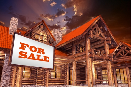 loaning: Luxury Log Home For Sale with Large For Sale Sign in Front. Real Estate Concept 3D Illustration. Stock Photo