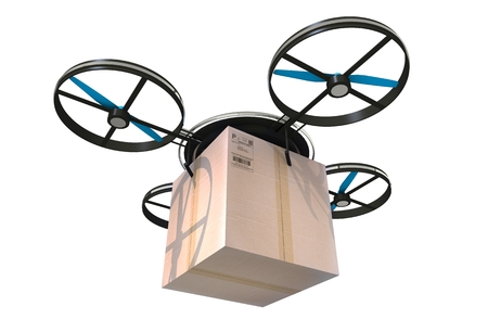 computerized: Package Delivery by Drone. Drone with Large Carton Box Isolated on White.