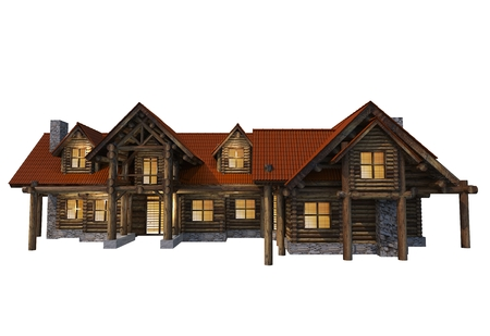 market place: Front of Large Log House Isolated on White. 3D Log Home Render Illustration