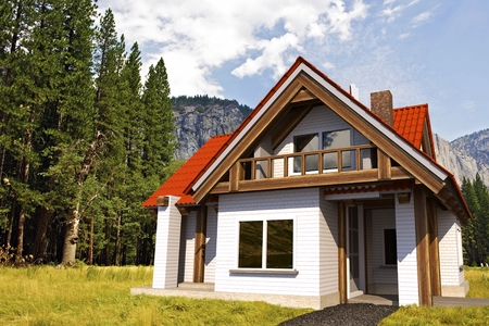 Small Single Family House Illustration. 3D Architecture Concept. Reklamní fotografie