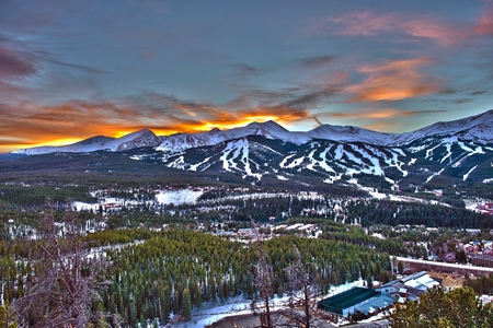 Sunset in Breckenridge HDR Winter Photography.  photo