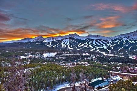 Zonsondergang in Breckenridge HDR Winter Fotografie. Stockfoto
