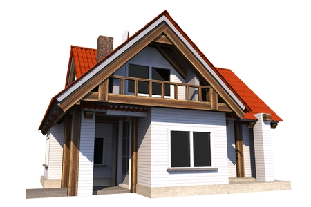 two story: Small House Isolated on White Background. Single Family Home 3D Illustration.