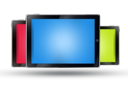 displays: Three Tablets Isolated on White. Blue, Red and Green Displays. Mobile Technology Concept. Stock Photo