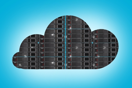 storage device: Hosting in the Cloud Concept Illustration. Cloud Technology.