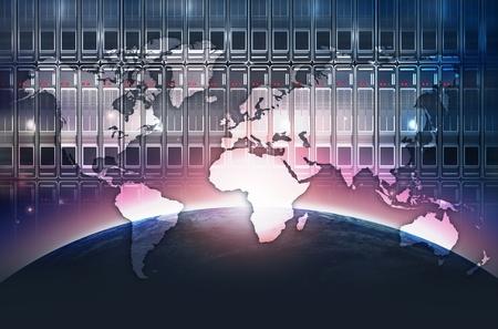 datacenter: Digital World Abstract Concept. Global Datacenter Background. Stock Photo