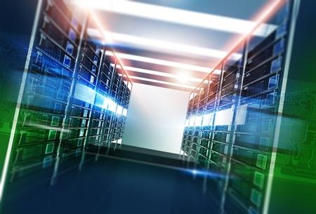 호스팅 서버 룸 골목 3D 그림을 렌더링합니다. 인터넷 기술 개념입니다.