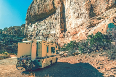 Aged Camper in the Canyon.  photo