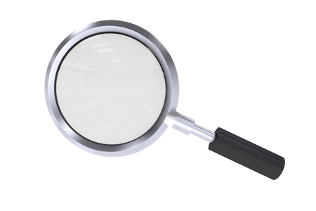 Magnifying Lens Isolated on White Background. 3D Illustration. Stok Fotoğraf