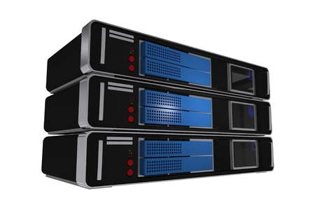 virtualization: Server Machines Isolated on White. 3D Illustration. Three Modern Servers Tower. Hosting Theme.