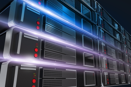 Powerful Servers Rack Closeup Illustration with Light Rays.  Stock Photo