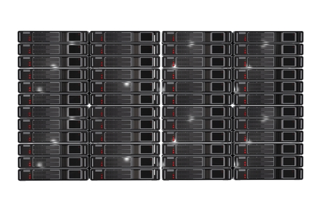 hosted: Server Racks Front View 3D Render Illustration Isolated on White Background. Stock Photo