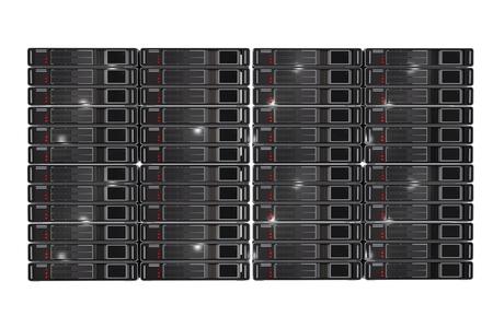 Server Racks Front View 3D Render Illustration Isolated on White Background. Stock Photo