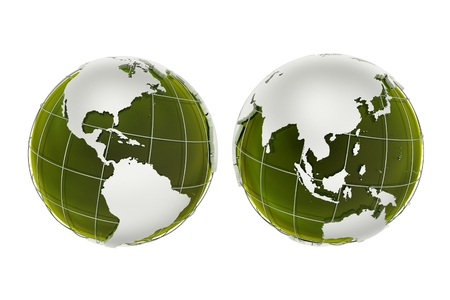 3D Green Globes Illustration Isolated on White Background.