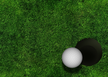 Golf Grassy Background with Golf Ball and Hole.  Фото со стока