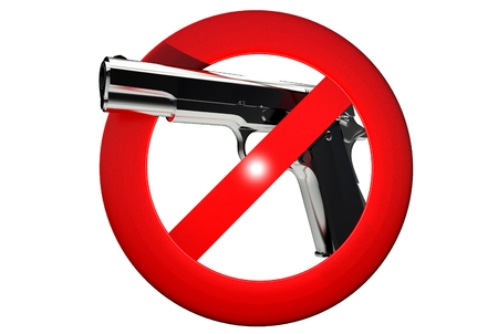 ordinance: Gun Carrying Prohibited 3D Sign Illustration Isolated on White.
