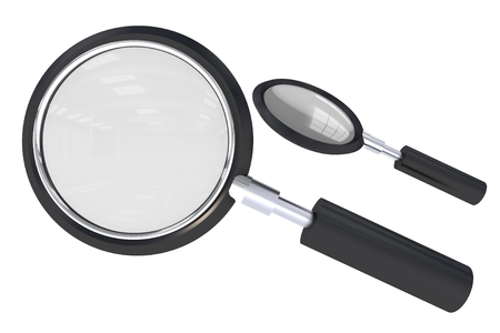 Magnifying Glass Isolated on White Background. 3D Illustration of Magnifying Glass. Stok Fotoğraf