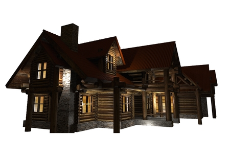 family isolated: Log Home Isolated Graphic. Log House Night Illumination 3D Render Illustration. Stock Photo