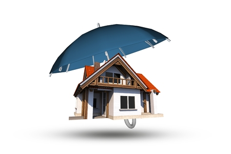 Large Blue Umbrella Covering Single Family Home. Imagens