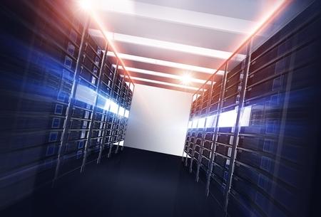 데이터 센터 서버 골목 개념 3D 그림입니다. 강력한 데이터 센터와 화려한 광선. 직선 골목. 스톡 콘텐츠