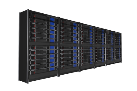 virtualization: Isolated on White Large Servers Rack 3D Render Illustration.